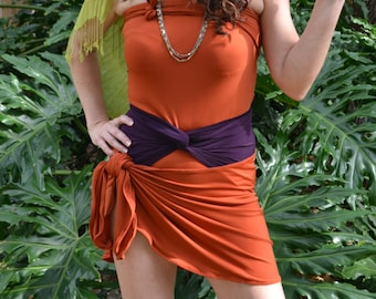 Sarong Beach Cover Up Rust Swimwear Skirt Pool Cover Up Wrap Skirt Beach Skirt Swimsuit Cover Up Wrap Top Orange Sarong hisOpal