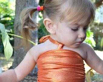 Baby Bathing Suit Metallic Orange Wrap Around Swimsuit One Wrap Girls Swimwear One Size fits Newborn to Toddler 3 Swimming Costume One Piece