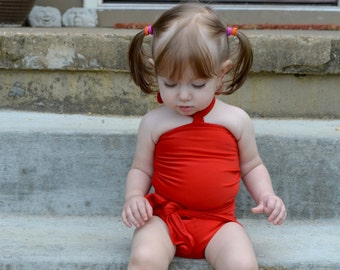 Baby Bathing Suit Tomato Red Wrap Around Swimsuit Toddler Girls Swimwear Warm Red One Wrap Swimming Costume Infant Swim Suit hisOpal Baby