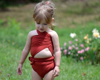 Bathing Suit Pink Xs Wrap Around Swimsuit One Wrap Young Girls Etsy