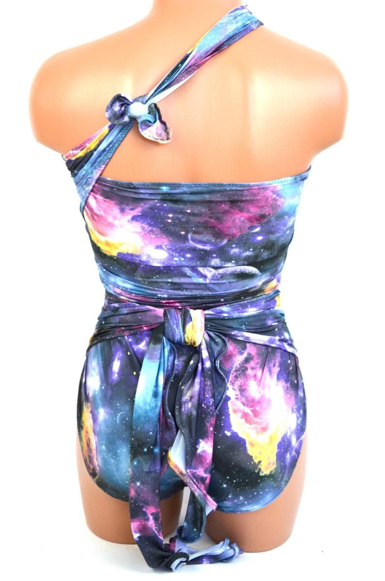 e66ff1916f XL Bathing Suit Wrap Around Swimsuit One Wrap Galaxy Print | Etsy