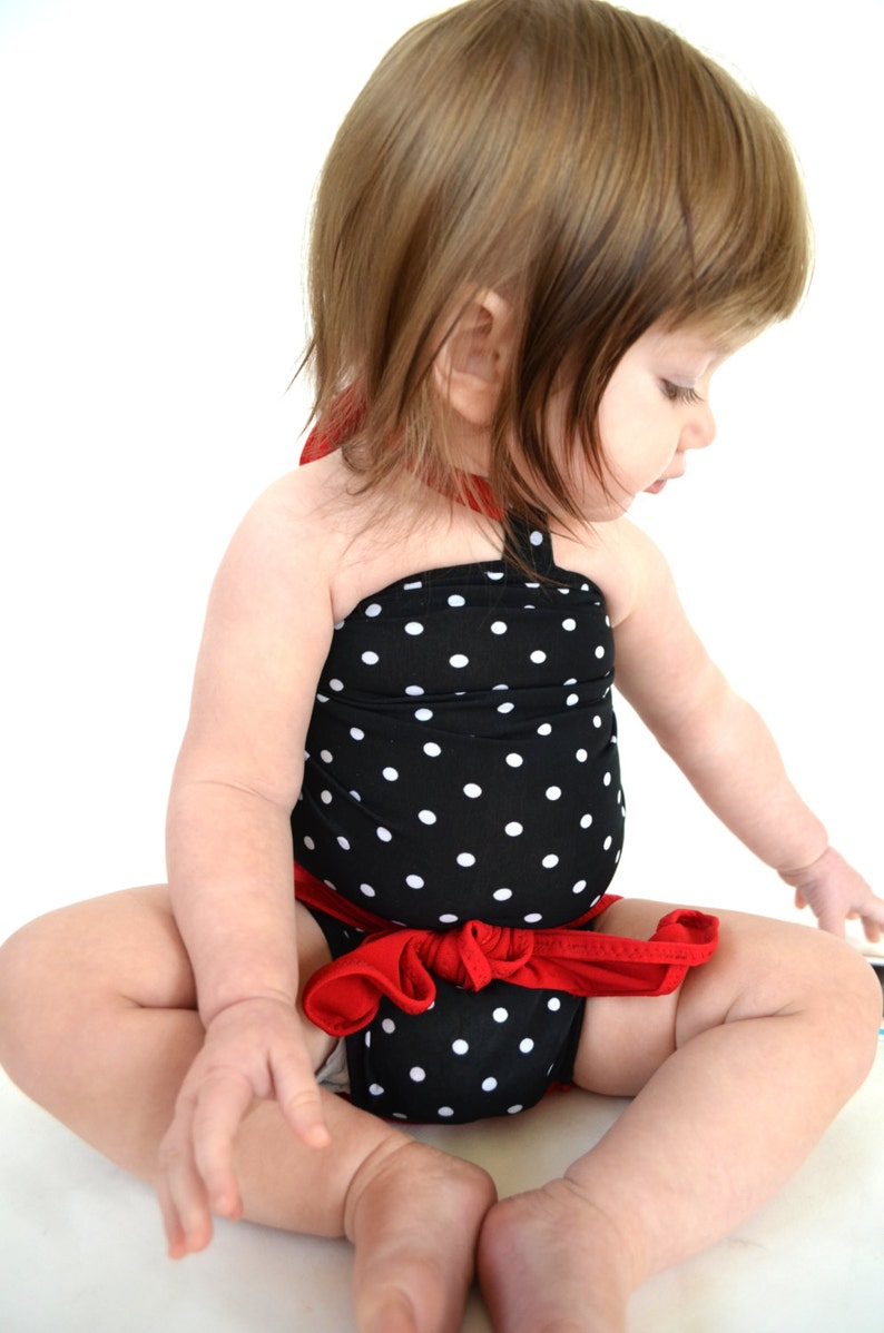 1488c3e0b4 Baby Bathing Suit True Red and Black with White Polka Dots | Etsy