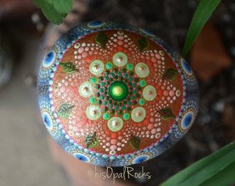 Copper Leaf Mandala, Hand Painted Rock, Decorative Rock, Unique Mandala, Nature Mandala, Housewarming Gift, Shower Gift, Wedding Gift, Art