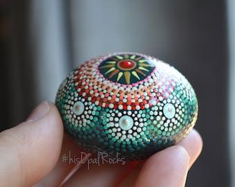 Dot Painted Rock, Small Mandala Stone, Hand Painted Rock, Pocket Stone, Gratitude Rock, hisOpal Rocks, Sun Mandala, Resin Sealed