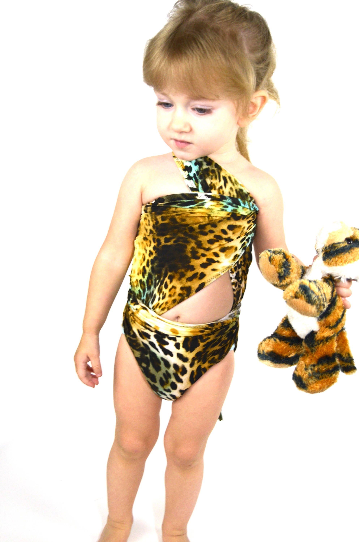 b704eee69a XS Bathing Suit Leopard Print Wrap-around Swimsuit Pre Teen | Etsy
