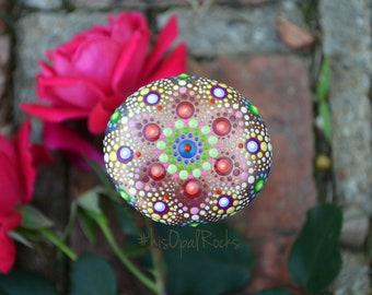 Rainbow Mandala Stone, Hand Painted Rock, Boho Decor, Unique Gift, Housewarming Gift, Gift for Her, Jewel Drop Mandala, Painted Rock, Art