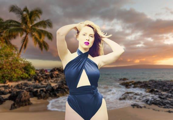 0db113817c7 Medium Bathing Suit Dark Navy Blue Wrap Around Swimsuit One