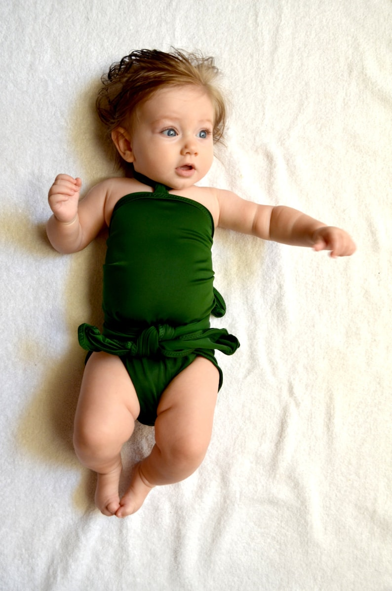 eba756278b Toddler Girls Swimwear Baby Bathing Suit Hunter Green Wrap | Etsy