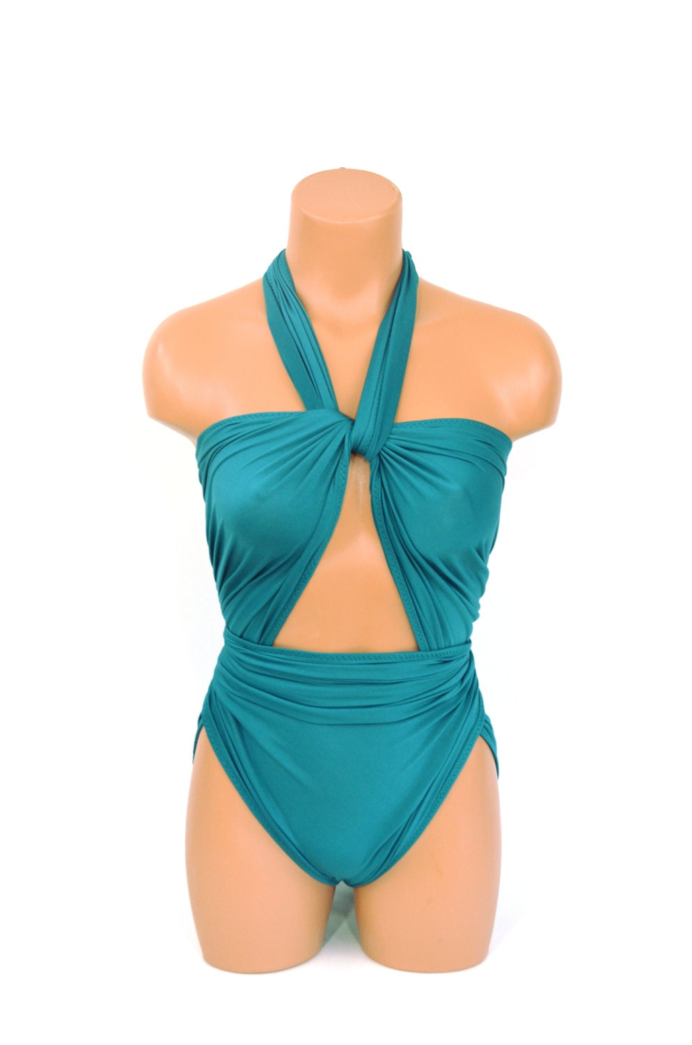 637cf708912 Bathing Suit XL Turquoise Green Wrap Around Swimsuit One Wrap