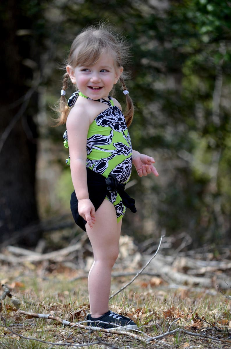 a938ed558 Girls Bathing Suit Neon Green w  Black Floral Print Baby Body