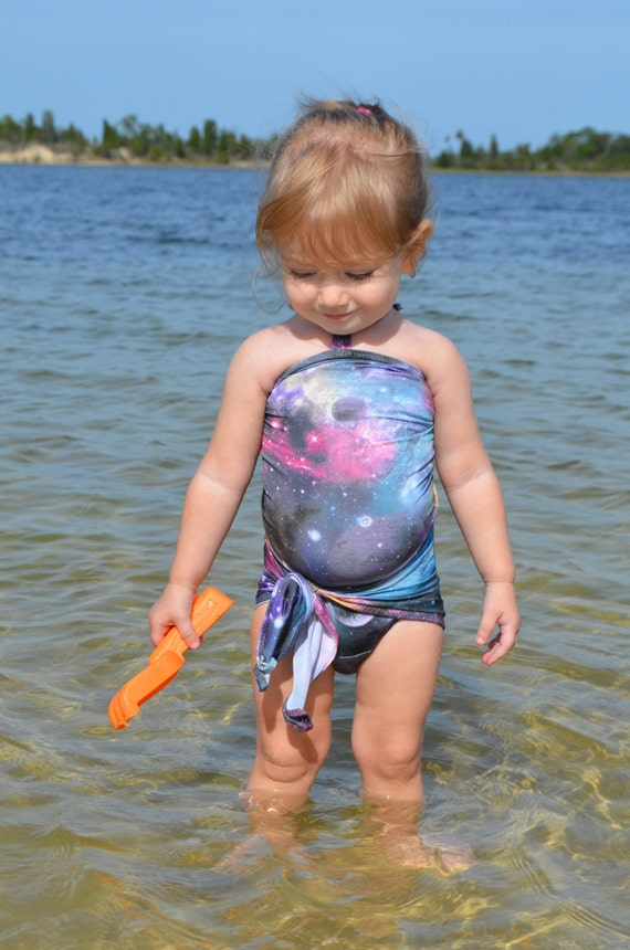 Baby Bathing Suit Galaxy Print Wrap Around Swimsuit One Wrap Etsy