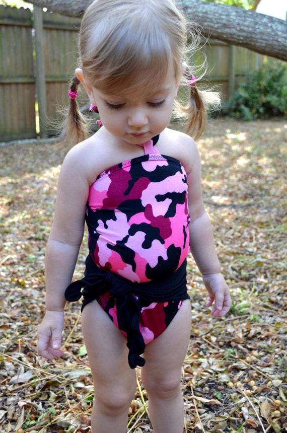 Baby Bathing Suit Pink Camouflage w Black Wrap Around Swimsuit Girls Swimwear Pink Camo Print Infant One Wrap One Size Swimsuit Newborn 3T