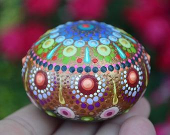 Prayer Rock, Mandala Stone, Hand Painted Rock, Boho Decor Art, Meditation Stone, Jewel Drop Mandala, hisOpal Rocks, Copper, Rainbow Mandala