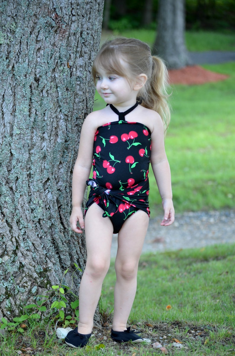 726457f4165f4 Swimsuit Girls Baby Bathing Suit Cherry Print on Black One