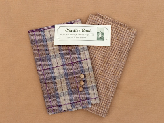 One-off pack with handwoven Harris Tweed, British wool plaid tweed and toning vintage buttons, in shades of camel, biscuit, grey and heather