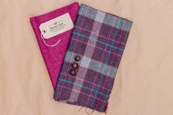 One-off fabric pack with British wool plaid and plain marled tweed in deep magenta, dark aubergine and spruce green plus vintage buttons