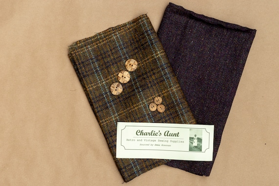 Limited edition fabric pack with British wool plaid and herringbone tweeds plus vintage wooden buttons, in shades of plum and dark mustard