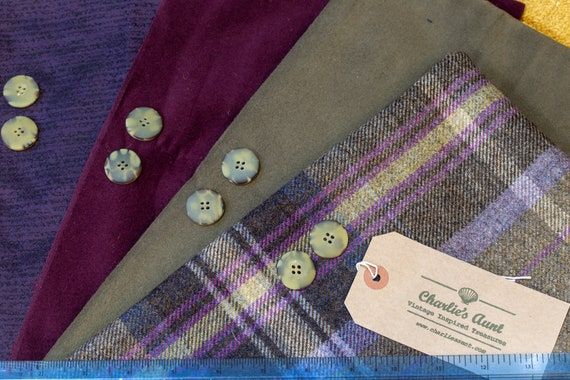 One-off pack containing FOUR pieces of toning fabric including British wool tweed, cotton moleskin, Sudbury silk and buttons