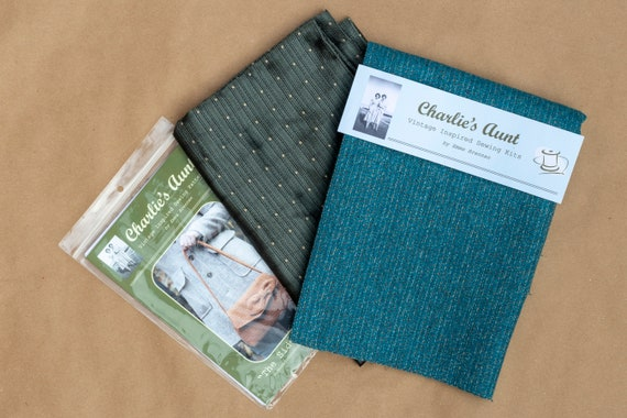 One-off fabric pack with British wool tweed, Sudbury silk fabric and vintage buttons, in shades of aqua blue and grey