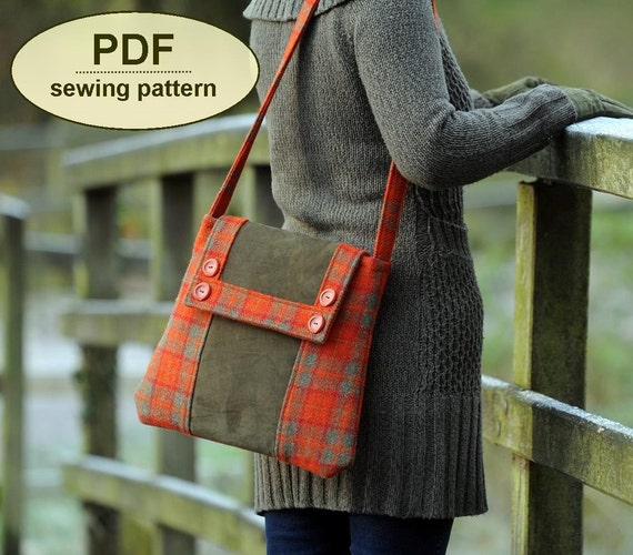 Sewing pattern to make the Kersey Tye Messenger Bag - PDF pattern INSTANT DOWNLOAD