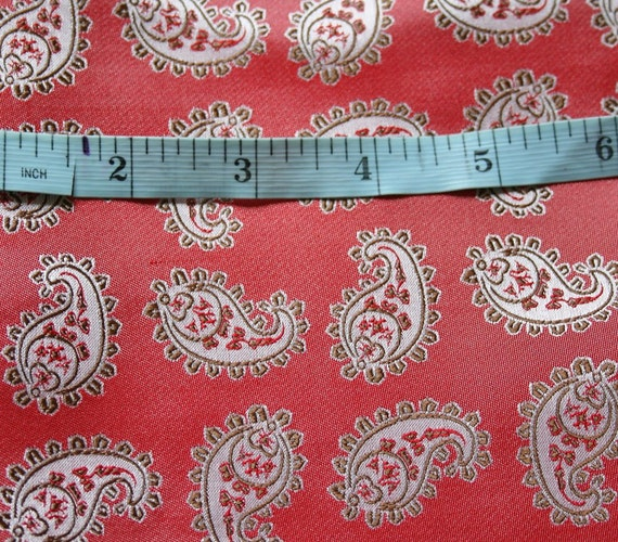 "Woven silk fabric with a paisley design in red and grey tones, size 24"" x  27"", medium/light weight silk"