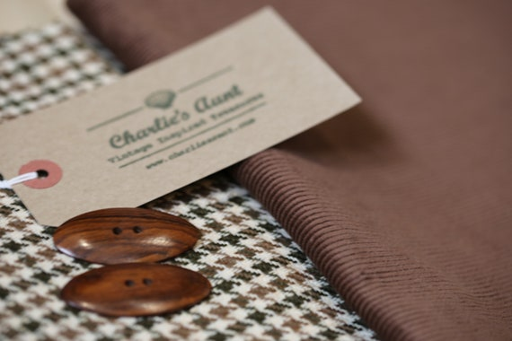 One-off pack of TWO pieces of toning fabric in various shades of brown, one wool mix tweed, one English corduroy plus two oval buttons