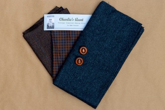 One-off pack with British wool tweed, vintage wool tweed and gingham print cotton mix fabric plus two vintage buttons