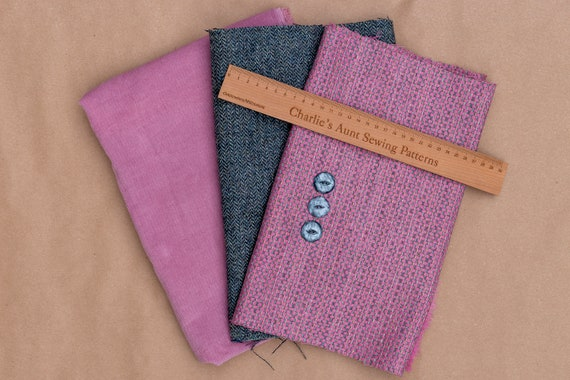 One-off fabric pack with British wool tweed in two weaves, English corduroy plus vintage buttons, in shades of pink and grey