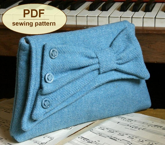 Sewing pattern to make the Gershwin Clutch Bag - PDF pattern INSTANT DOWNLOAD