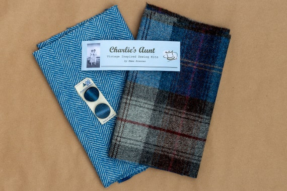 Limited edition fabric pack with British wool plaid and herringbone tweeds plus rare vintage buttons, in shades of blue, grey and chocolate