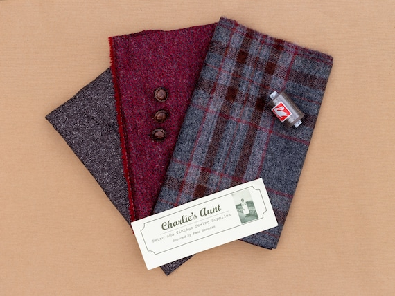 Limited edition pack with TWO pieces of British wool tweed, plus lining fabric and vintage buttons in shades of claret, grey and chocolate
