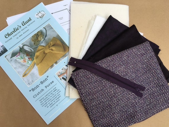 Sewing kit to make the Bon-Bon Clutch Purse in grape and grey wool herringbone tweed with velvet bow, pattern included