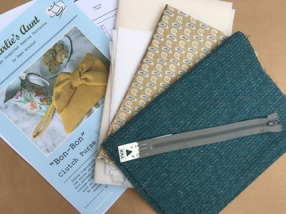 Sewing kit to make the Bon-Bon Clutch Purse in teal and grey English wool tweed and Sudbury silk, pattern included