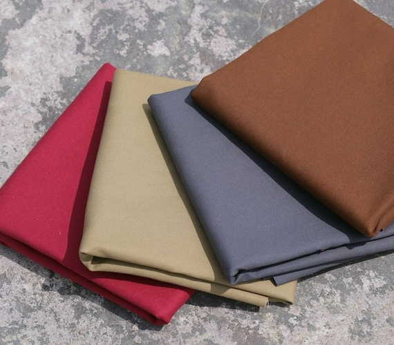 "English cotton sanded canvas fabric - 3/4 yard of 60"" wide medium weight in a choice of four colours"