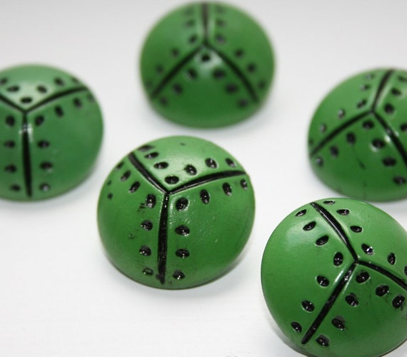 "5 vintage buttons size 1"" (25mm) from the 1950s in bright green with black painted on dot pattern"