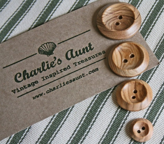 Plain shiny wooden two-hole buttons in a choice of three different sizes