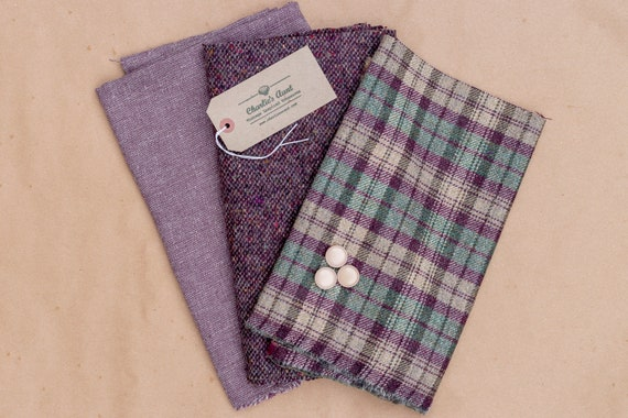Limited edition fabric pack with British wool plaid and marled weave tweeds plus vintage linen mix fabric and vintage buttons