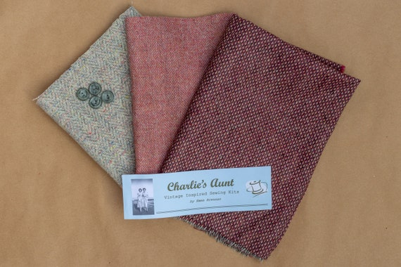 One-off fabric pack with British wool tweed pieces in birds' eye and herringbone weaves plus vintage buttons, in shades of pink and grey