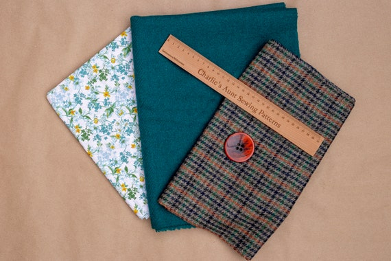 One-off fabric pack with British wool dog-tooth style plaid tweed, plain wool tweed, floral cotton plus a large button