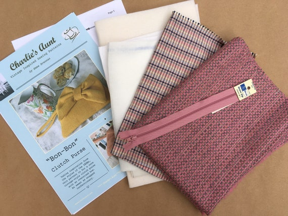Sewing kit to make the Bon-Bon Clutch Purse in pink and grey English wool tweed and Sudbury silk, pattern included