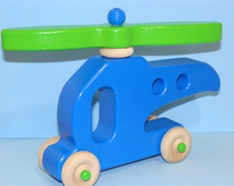 Wooden Helicopter - Ready to Fly - LARGE BLUE/ Green prop