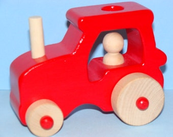 RED Wooden Toy Farm Tractor - Medium