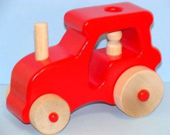X LARGE-Wooden Farm Tractor  - RED
