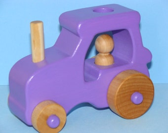 PURPLE Wooden Toy Farm Tractor - Medium