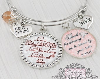Bride Gift from Bridesmaid Maid of Honor - Personalized BANGLE Bracelet - Gift for Bride - Thank You for choosing me to stand by your side