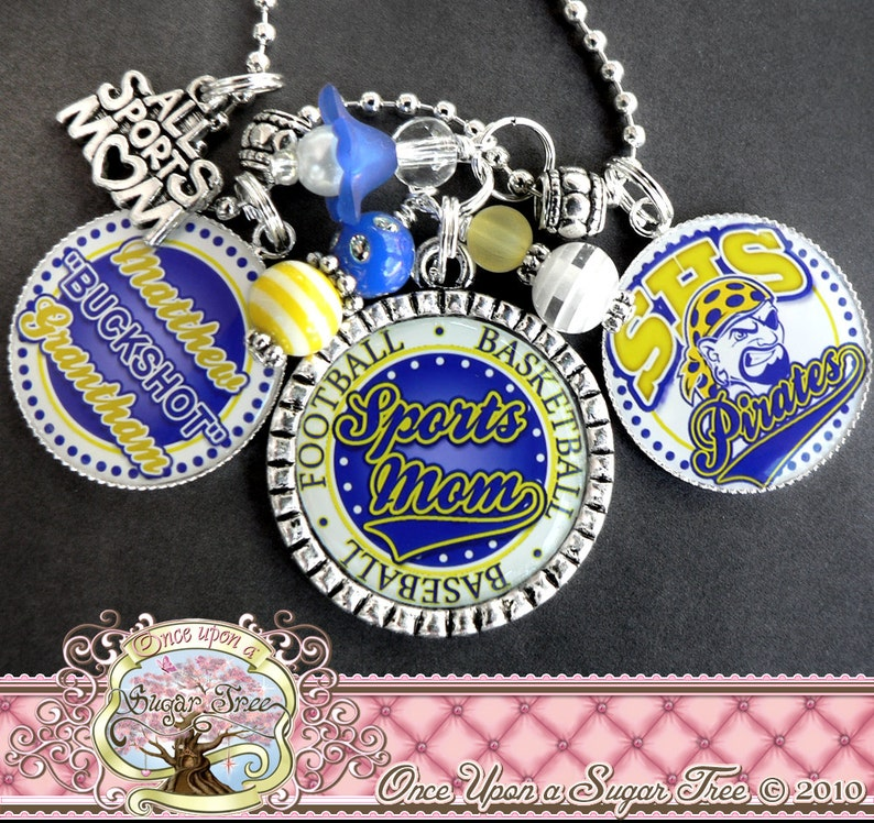 Sports Mom Necklace Sports-Triple Pendant All Sports Mom Charm FOOTBALL BASEBALL CHEER Necklace Fully Customizable Team-Team Logo