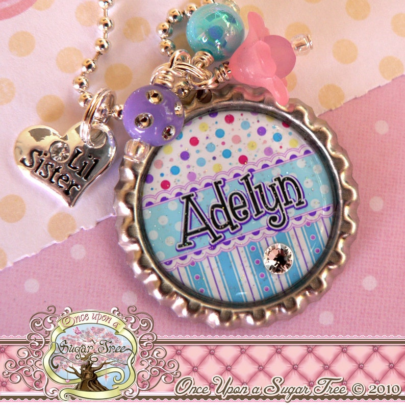Stripes Aqua Personalized Bottle Cap Necklace Birthday Big SISTER Necklace or LITTLE Sister New Sister Gift Polka Dot Heart Charm
