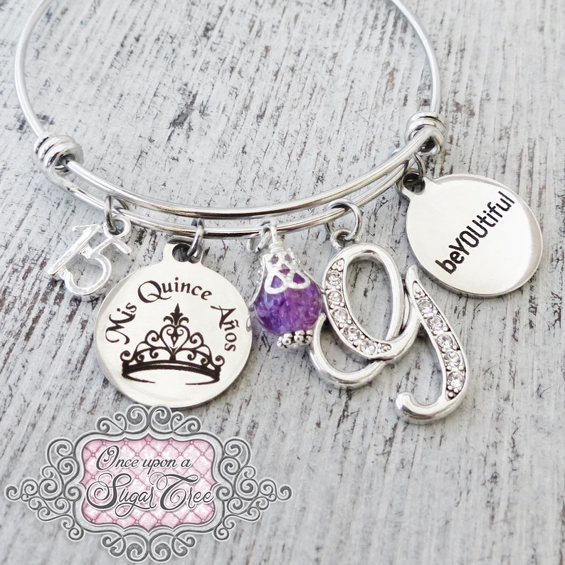 Jewelry- Crown Quinceanera GIFT 15th Birthday Gift Number 15 beYOUtiful Bracelet Personalized Jewelry- Mis Quince Anos 15 year old