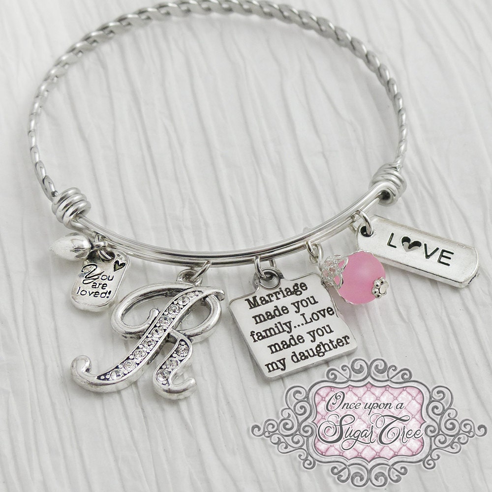 2c9c23cd400 Daughter in Law Bracelet -Marriage made you family love made you my  daughter -Step Daughter Jewelry-Expandable Bangle-Charm Bracelet, Love