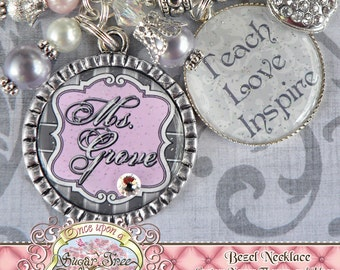 Teacher Gift Personalized TEACH LOVE INSPIRE Necklace, Elegant Apple, Pink Gray, Teacher Appreciation, Rhinestone Apple Charm, Damask